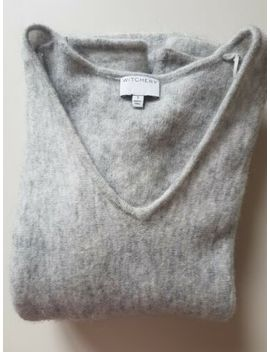 Luxe Witchery Grey Marle Mohair Blend Deep V Neck Jumper Sweater Size S by Country Road