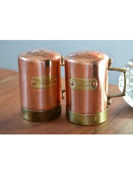 Vintage Copper Kitchen Salt And Pepper Shakers, Riveted Handles And Labels, Country Rustic Kitchen by Etsy