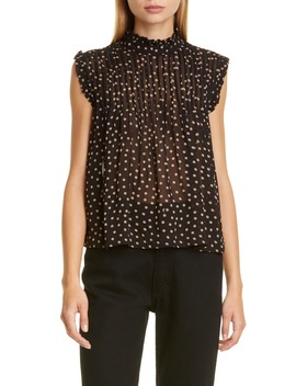 Dot Pintuck Ruffle Swing Top by Ganni