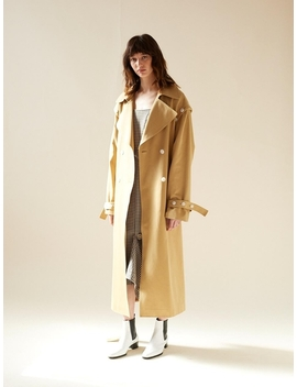 Button Trench Coat Beige by Leuni