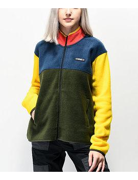 Obey Odyssey Navy, Green &Amp; Yellow Colorblock Tech Fleece Sweatshirt by Obey