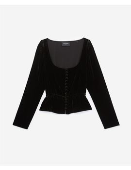 Buttoned Black Velvet Top With Peplum by The Kooples