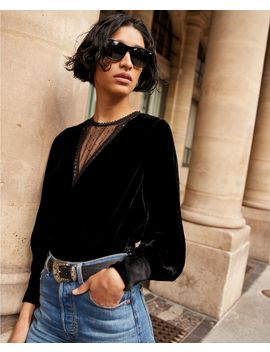 Velvet Cropped Black Top With Lace by The Kooples