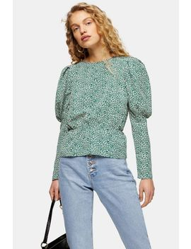 Green Micro Animal Print Drama Sleeve Blouse by Topshop
