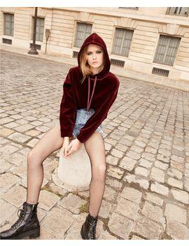 Hooded Burgundy Sweatshirt In Cotton by The Kooples
