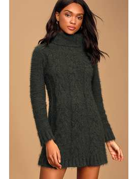Joyous Forest Green Cable Knit Turtleneck Sweater Dress by Lulus