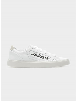 Womens Sleek Logo Sneakers In White by Adidas