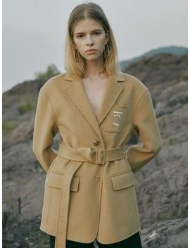 Handmade Wool Embroidery Td Logo Jacket Beige by Till I Die