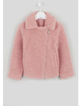 Girls Pink Borg Biker Jacket (4 13yrs) by Matalan