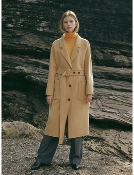 Handmade Pure Wool Stitched Belt Coat Yellow by Till I Die