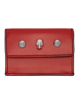 Red Mini Trifold Skull Wallet by Alexander Mcqueen
