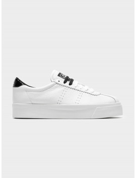 Womens 2854 Club 3 Leaw Sneakers In White & Black by Superga