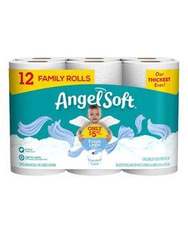 Angel Soft Bath Tissue, 12 Family Rolls, Fresh Linen Toilet Paper by Dollar General
