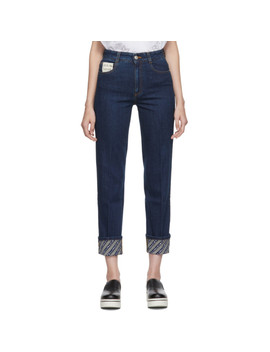Blue Logo Cuff 'the Skinny Boyfriend' Jeans by Stella Mccartney