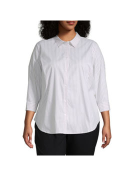 Liz Claiborne Womens 3/4 Sleeve Button Front Shirt   Plus by Liz Claiborne