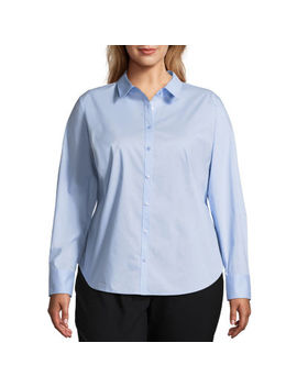 Worthington Long Sleeve Button Front Shirt   Plus by Worthington