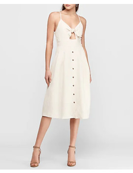 Linen Blend Tie Front Midi Dress by Express