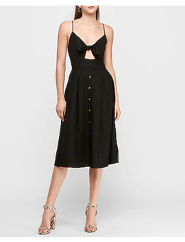 Black Linen Blend Tie Front Midi Dress by Express