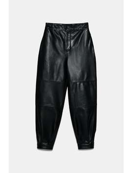 Slouchy Leather Trousers by Zara