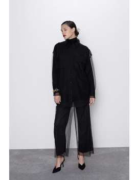 Trousers With Tulle AppliquÉ by Zara