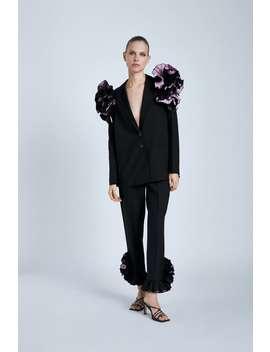 Frilled Hem Trousers by Zara
