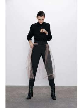 Trousers With Contrasting Tulle by Zara