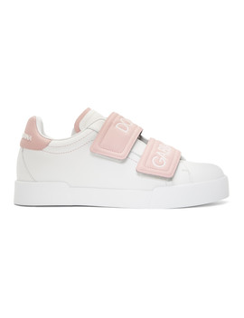 White & Pink Strap Sneakers by Dolce & Gabbana