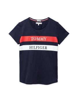 Stripe Block Logo Tee   Navy by Tommy Hilfiger