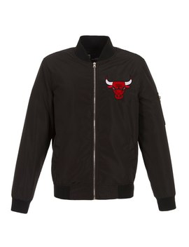 Men's Chicago Bulls Jh Design Black Lightweight Nylon Full Zip Bomber Jacket by Nba Store