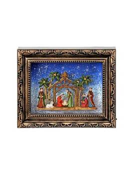Brown/Blue Led Battery Operated Nativity Frame Water Globe by The Holiday Aisle