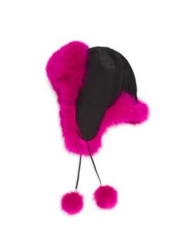 Fox Fur Trim Trapper Hat by Adrienne Landau