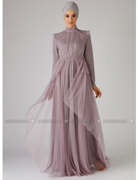 Lilac   Fully Lined   Polo Neck   Muslim Evening Dress by Modanisa