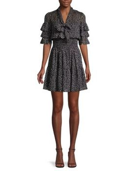 Cheetah Print Silk & Cotton Blend Mini Dress by Rebecca Taylor