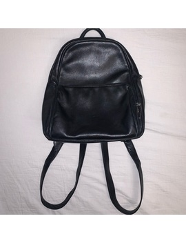 Vintage 90s Black Genuine Leather Small Backpack by Vintage