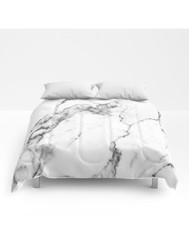 White Marble I Comforters by Society6