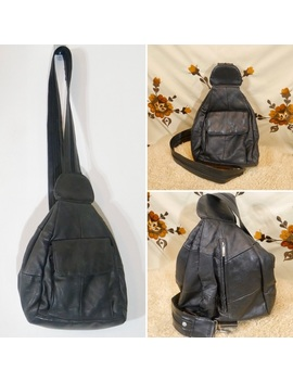 Vintage Black Leather 90s Slingback/ Backpack by Vintage