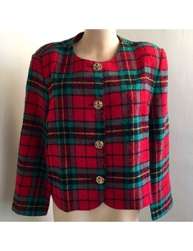 Vintage Plaid Tweed Long Sleeve Festive Jacket by Vintage
