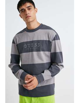 Guess Originals Grey Stripe Varsity Crew Neck Sweatshirt by Guess Originals