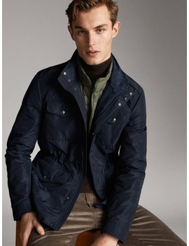 Detachable Navy Jacket With Pockets by Massimo Dutti