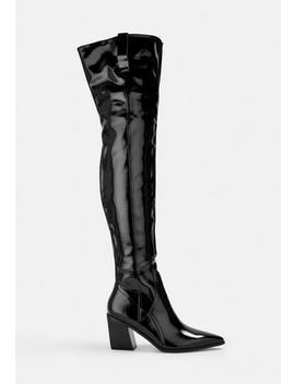 Black Patent Western Over The Knee Boots by Missguided