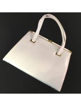 Vintage White Leather Top Handle Bag by Vintage