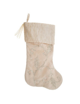 Cream Stocking With Sequin Holly Leaves by Hobby Lobby