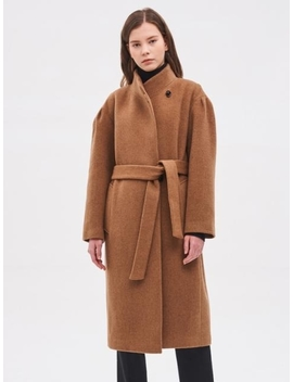 High Neck Belted Coat Camel by System
