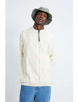 Uo Cream Textured Stitched Crew Neck Jumper by Urban Outfitters