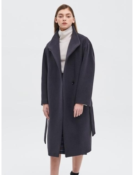 High Neck Belted Coat Dark Grey by System
