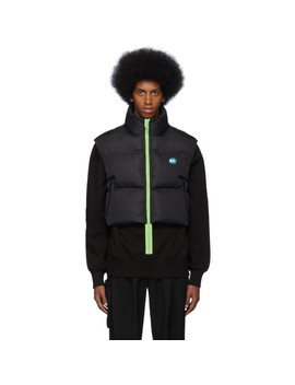 Black Down Stone Logo Puffer Vest by Ader Error