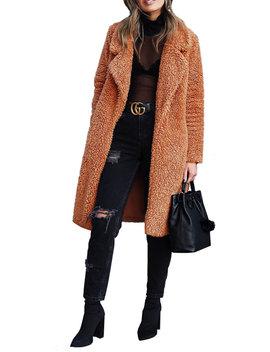 Women Thick Warm Teddy Bear Faux Fur Long Outwear Fleece Jacket Coat Overcoat Open Front Long Cardigan Female Lamb Wool Lapel Coat Overcoat Tops by Newtechnologyy