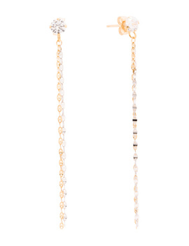 Made In Italy 14k Gold Two Tone Cz 2 Row Chain Earrings by Tj Maxx