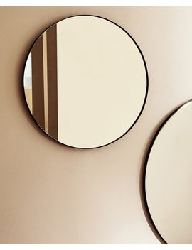 Round Mirror With Black Frame  Mirrors   Living Room by Zara Home