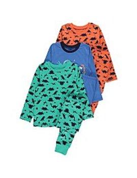 Dinosaur Print Long Sleeve Pyjamas 3 Pack by Asda